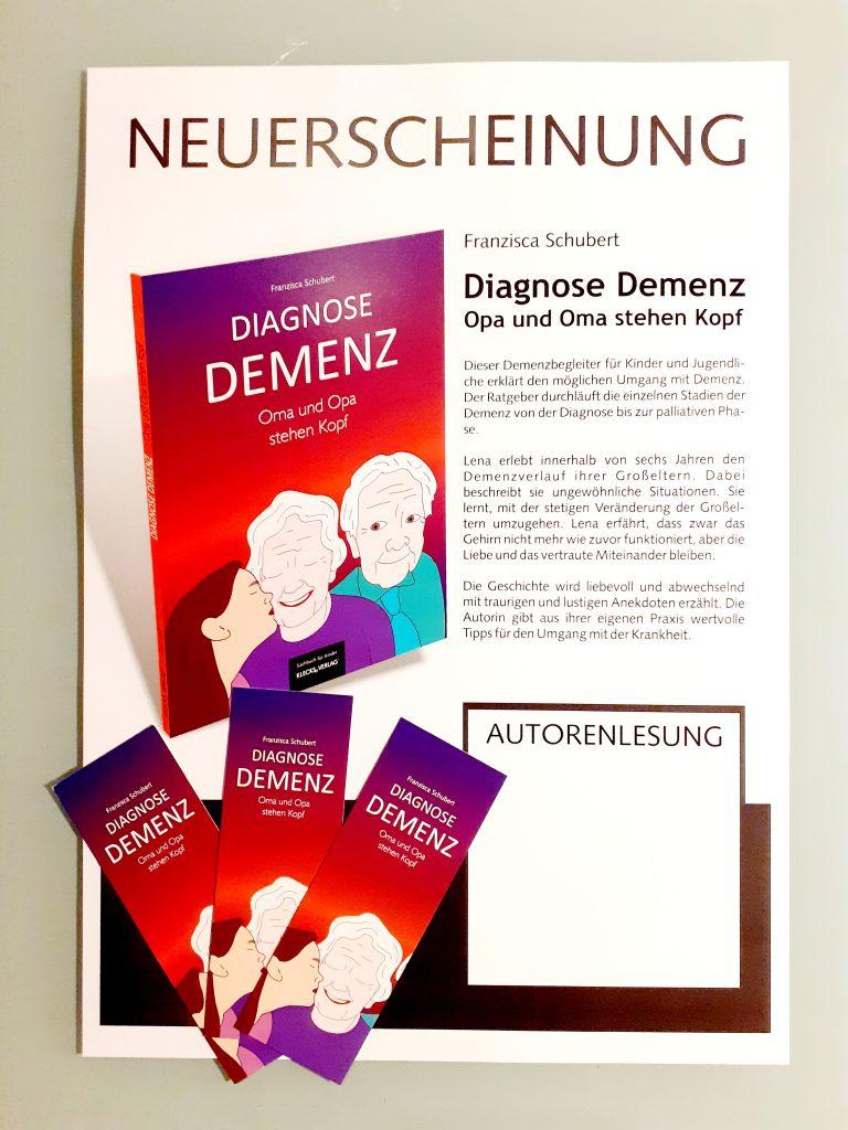 Plakat und Lesezeichen Diagnose Demenz