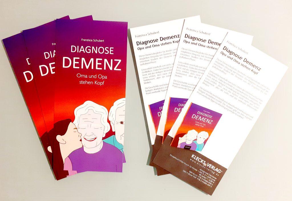 Flyer Diagnose Demenz - Oma und Opa stehen Kopf